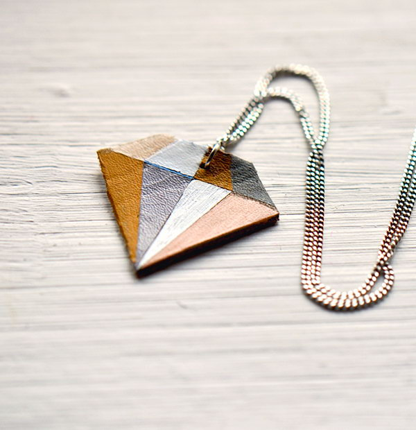 DIY Geometric Leather Diamond Necklace
