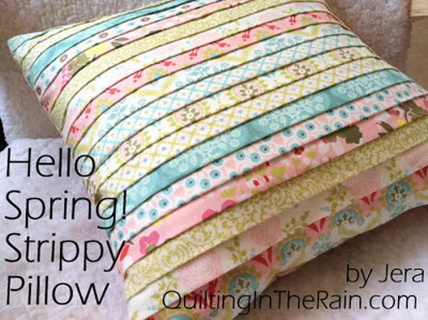 Strippy Pillow Made With Stripes Of Different Fabric