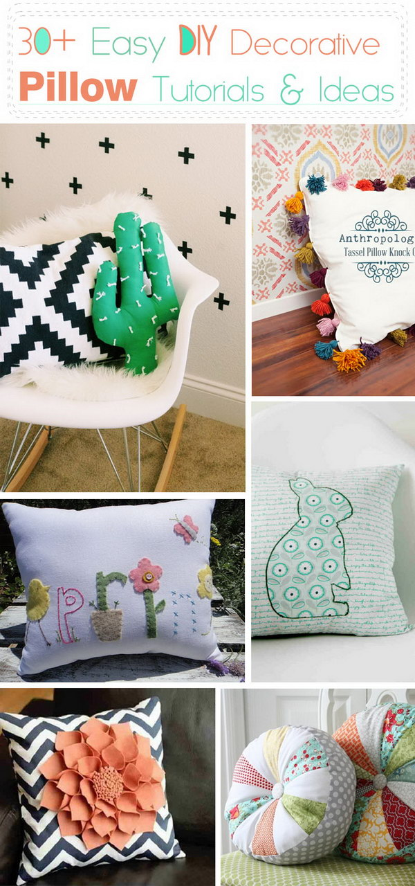 Easy DIY Decorative Pillow Tutorials and Ideas!