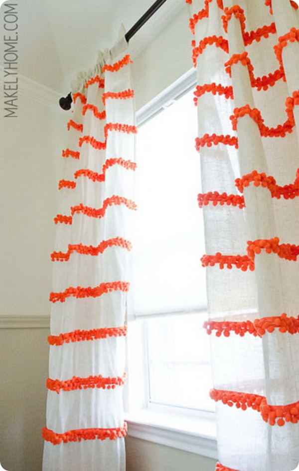 Pom Pom Trim Embellished Curtains. Get the full direction
