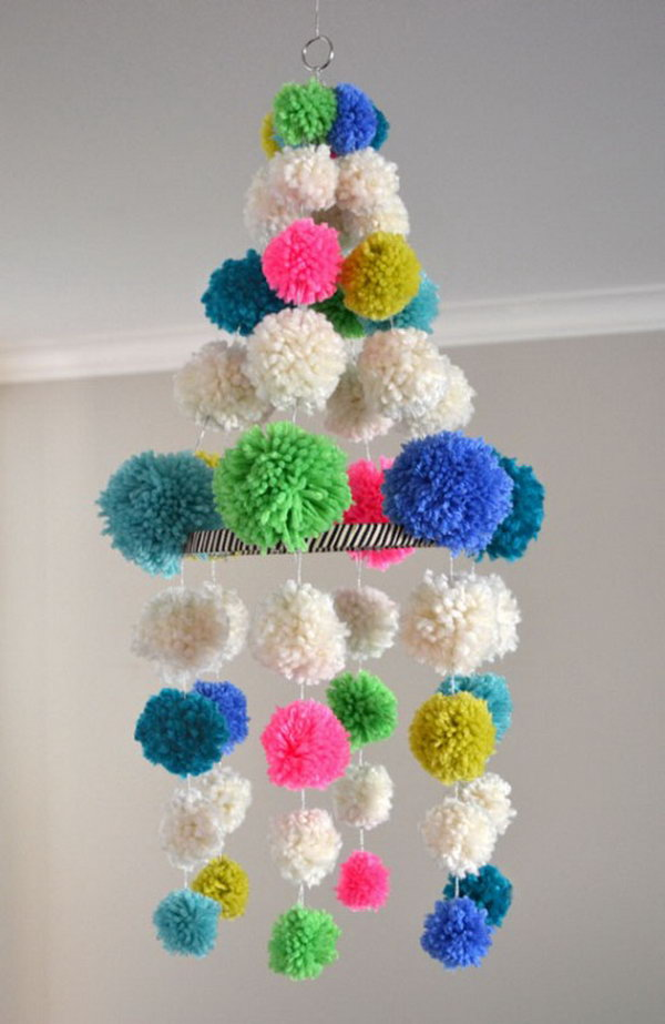 Pom Pom Chandelier. See how to make this one