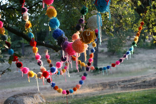 DIY Pom Pom Garland. See more directions