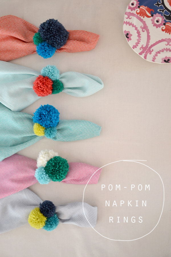 DIY Pom Pom Napkin Rings. See the steps