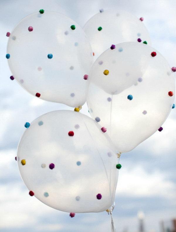 DIY Pom Pom Balloons. Get directions