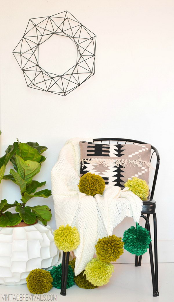 DIY Giant Pom Pom Throw. See how to make it
