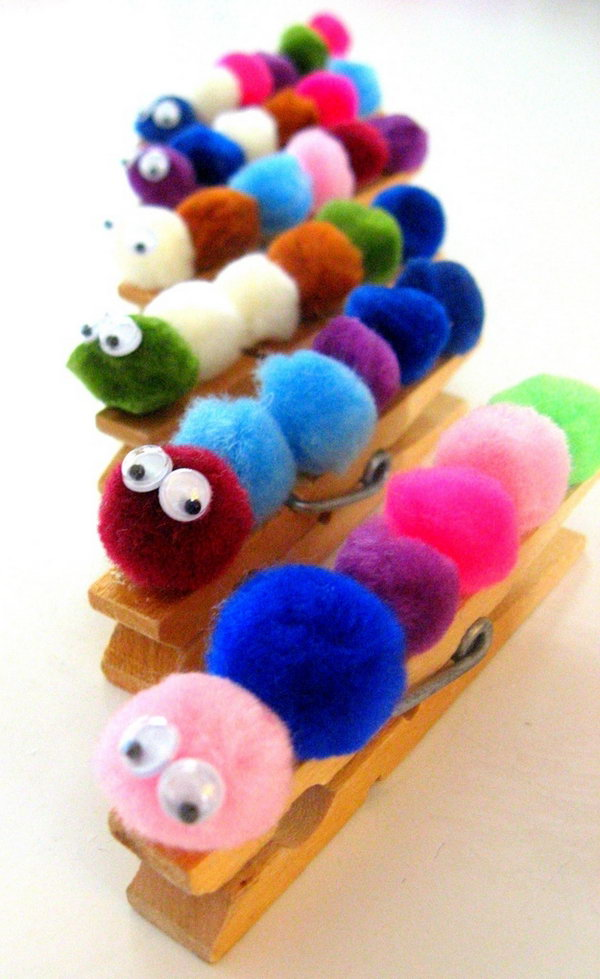Pom Pom Caterpillar Magnets.