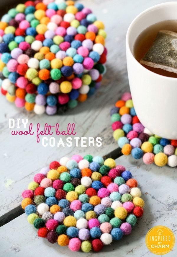 Pom Pom Felt Ball Coasters. Get the steps