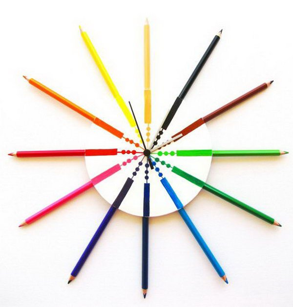 Colored Pencil Wall Clock. Get the instructions