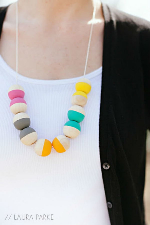 DIY Painted Wooden Beaded Necklace