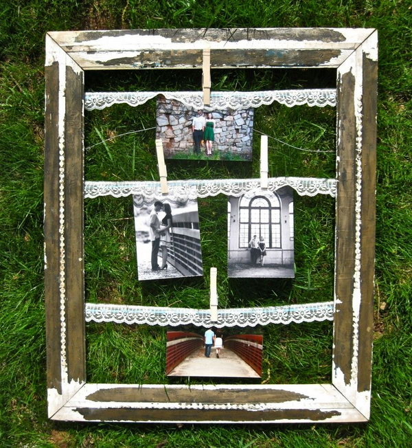 Vintage Clothes Pin Picture Frame.