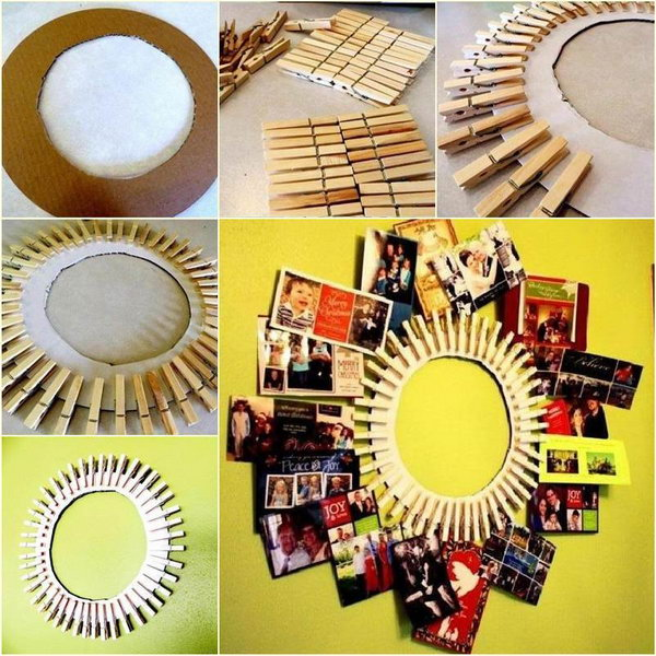 DIY Clothespin Photo Frame.
