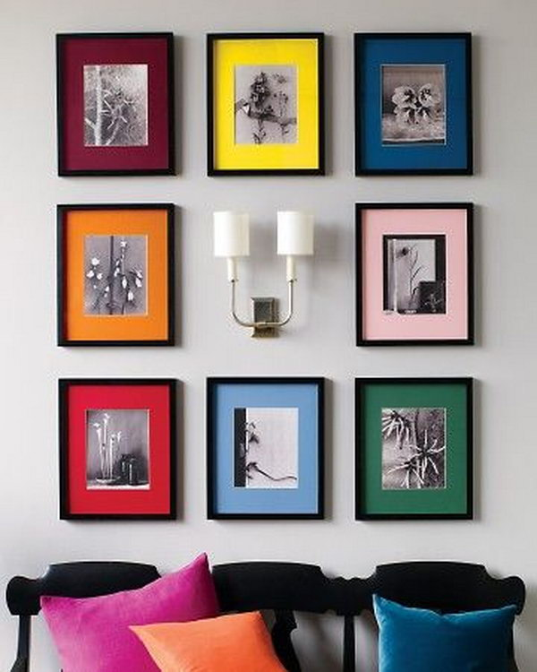 Colorful Display of Black and White Photos.