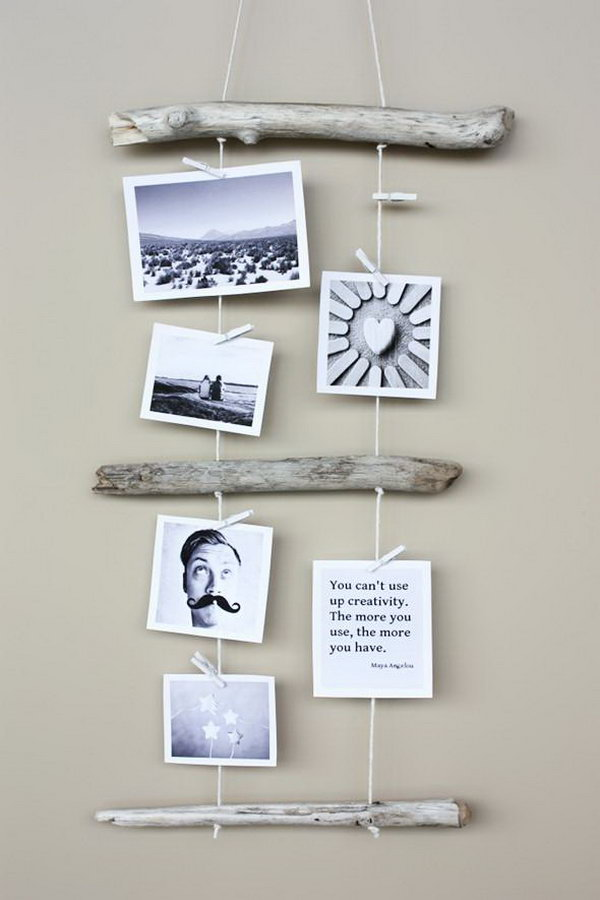 DIY Driftwood Photo Display.