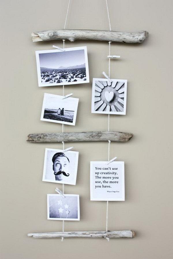 DIY Driftwood Photo Display.