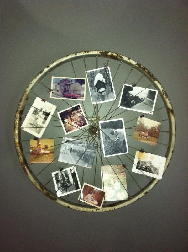 Old Bicycle Wheel Picture Frame.