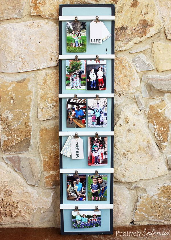 DIY Ladder Photo Display.