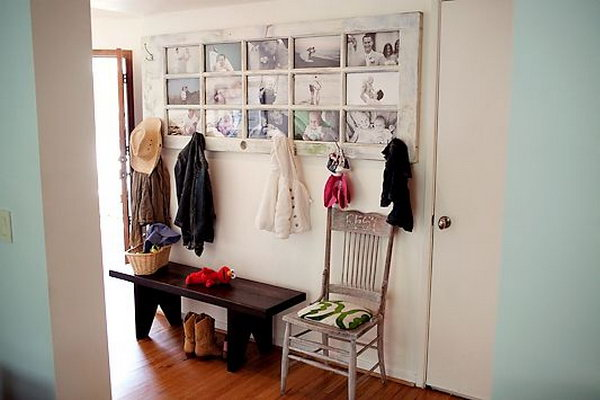 Repurpose an Old Door into a Picture Frame Coat Rack.
