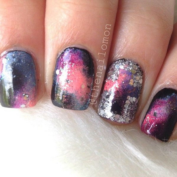 Galaxy Nails with Glitter