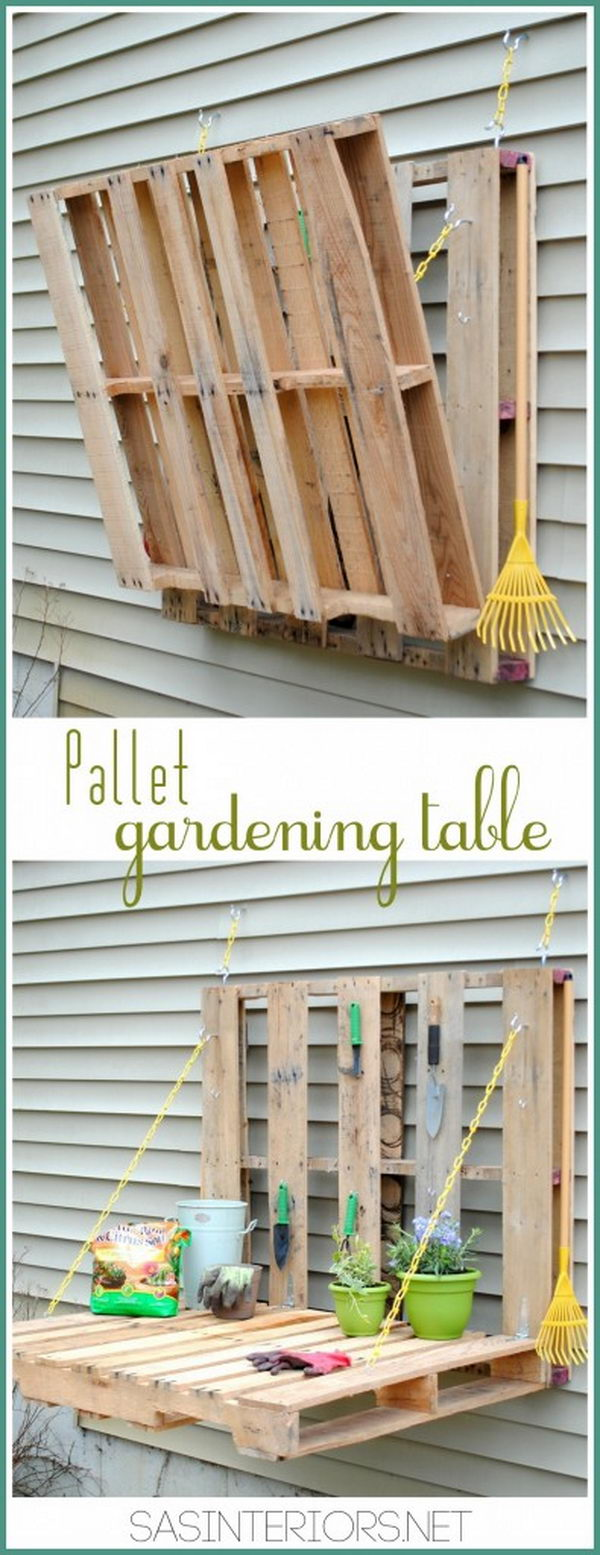 DIY Pallet Gardening Table. Check out the tutorial