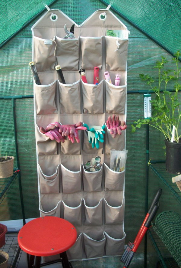 Reuse an Old Shoe Organizer to Store Small Gardening Tools & Accessories. See more details