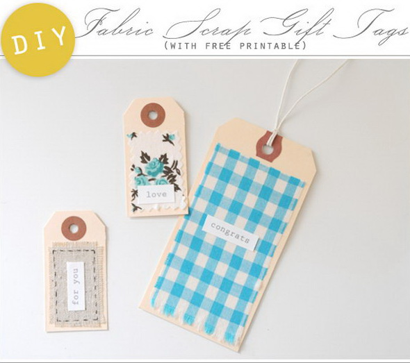 Fabric Scrap Gift Tags.
