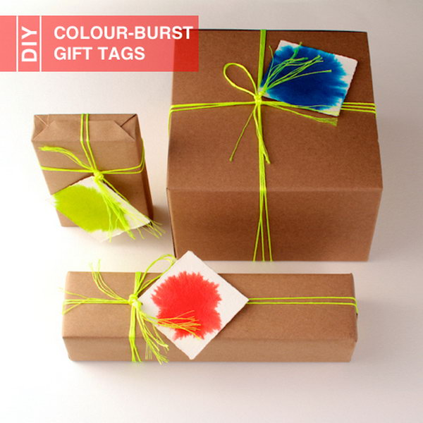 DIY Colour Burst Gift Tags.