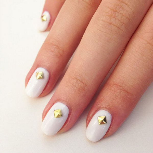 Gold Stud Nail Art. Such beautiful colors, cannot wait to try them!
