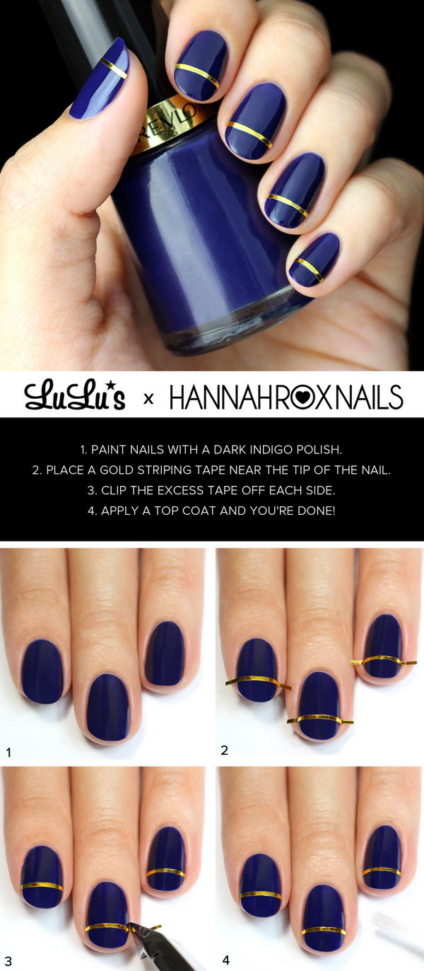 Indigo Blue and Gold Striped Nail. Such beautiful colors, cannot wait to try them!
