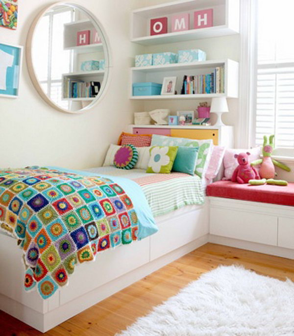 It's a clever idea to use your headboard for extra storage space.