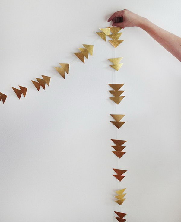 Gold Triangle Garland. Get the tutorial