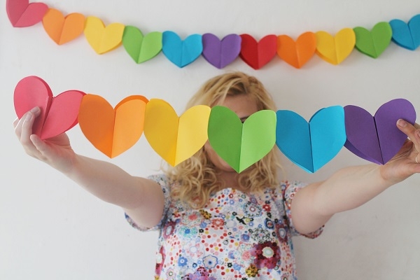 Rainbow Paper Heart Garland. See the details