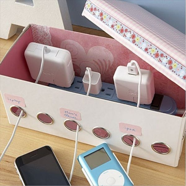 DIY Shoe Box Organizer for Power Strip.