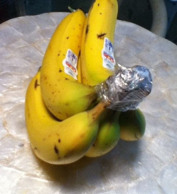 Wrap the crown of a bunch of bananas with plastic wrap. They'll keep for 3 5 days longer than usual.