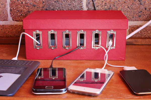 Use an old shoe box to create a recharge station for all of your devices.  Keep tangled cables out of sight.