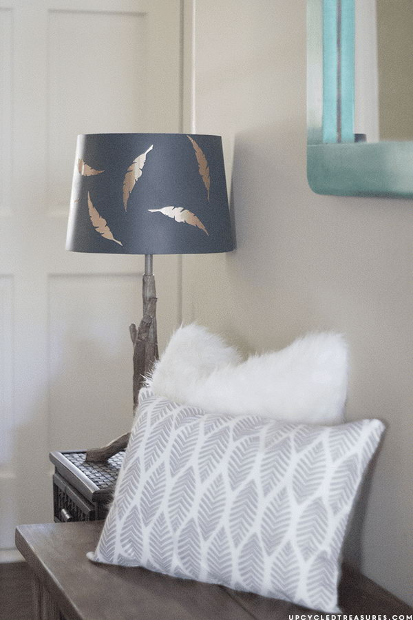 Lampshade Updated with Copper Contact Paper. See how to do it