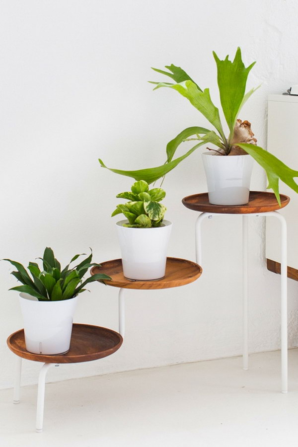 IKEA PS Plant Stand with Wooden Trays for a Much More Stylish Plante Display Option.