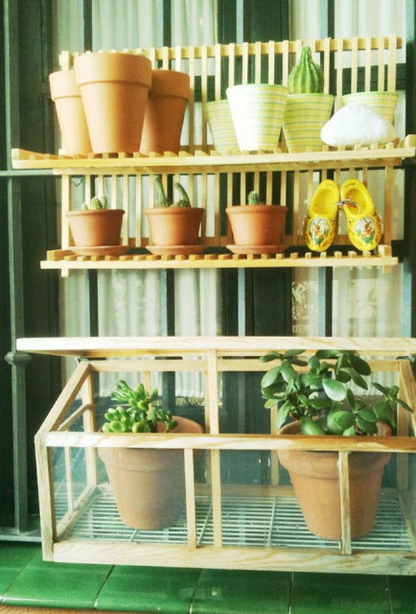 Lucky Dish Drainer Turned into plant Shelves.
