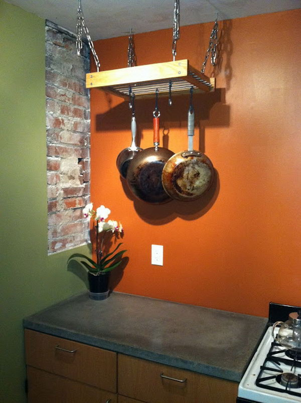 Simple Hanging Pot Rack Hack. Details