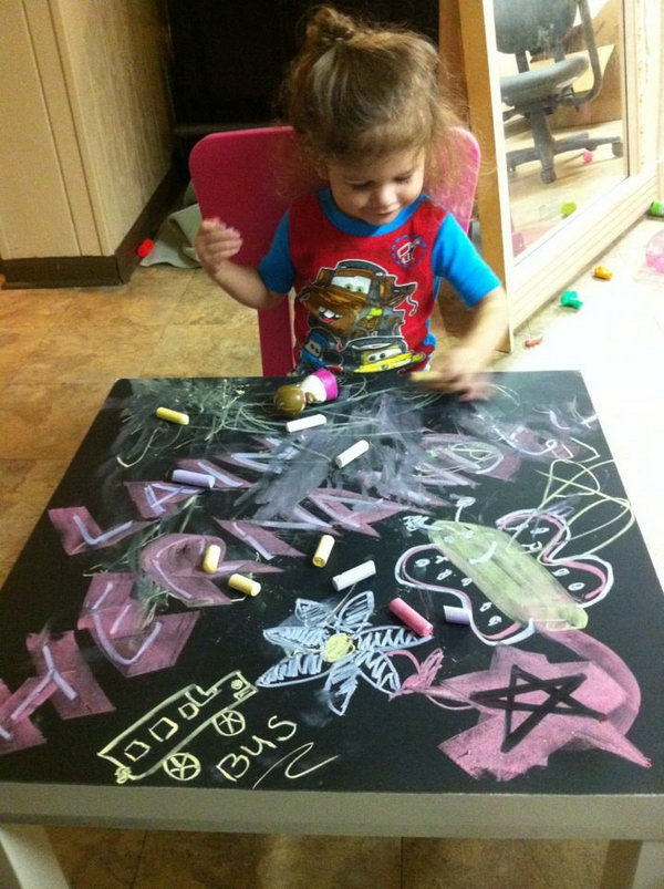 Fun Chalkboard Table for Kids.