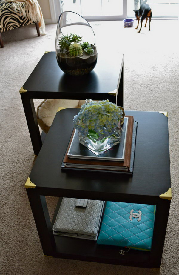 DIY Trunk Cube Tables made from four LACK side tables.