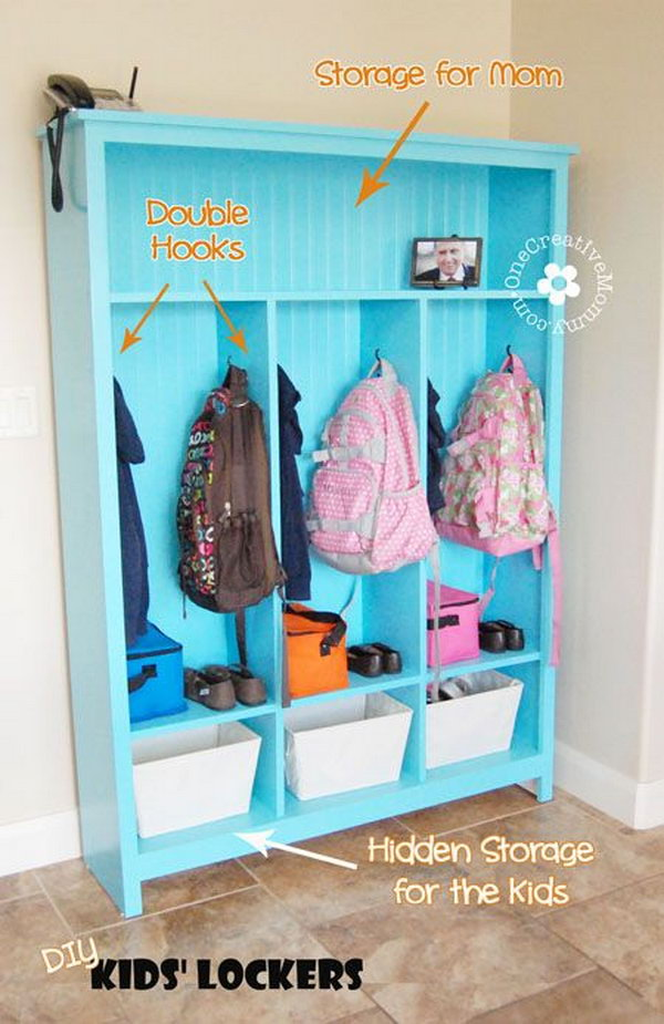 DIY Storage Lockers for Kids .