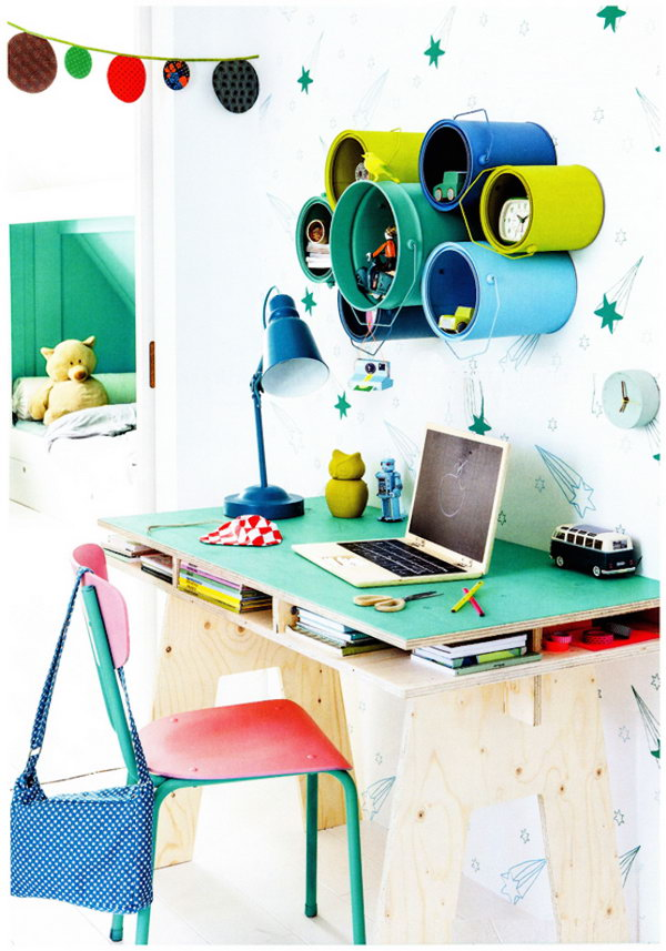 Paint Can Kid's Desk Storage.