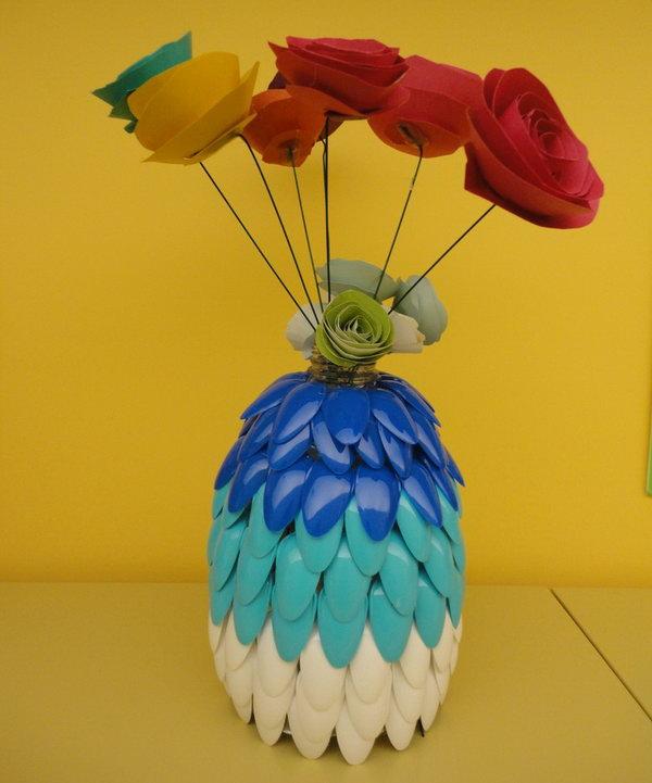 Plastic Spoon Vase.