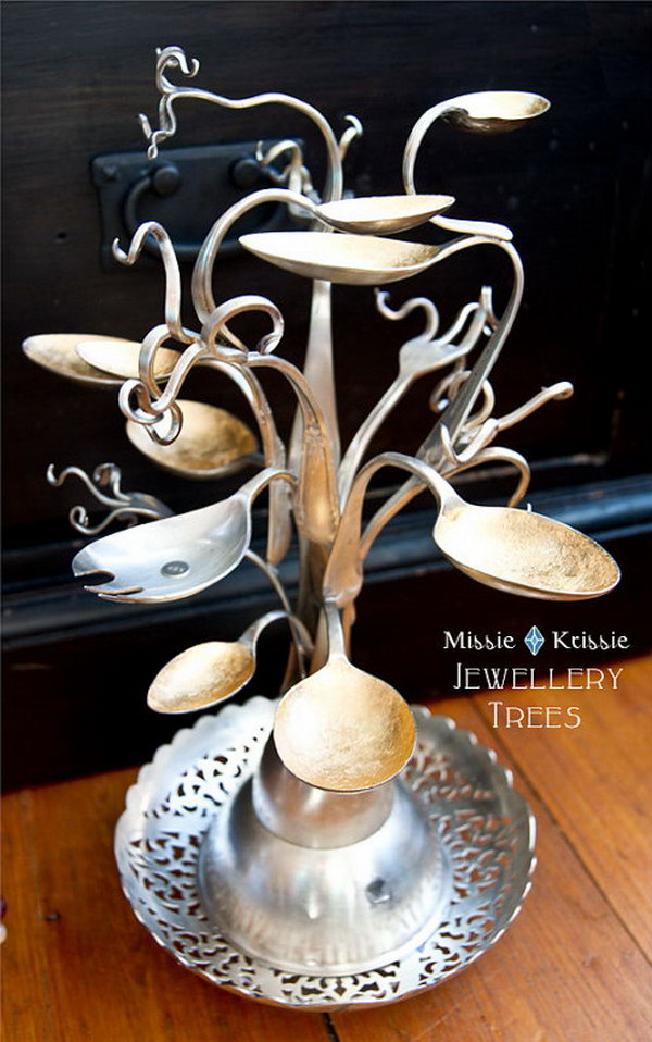 Jewelry Tree Made from Spoons and Forks.