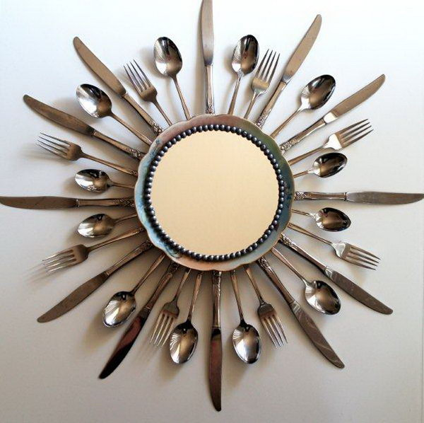 Sunburst Mirror Made With Old Kitchen Utensils. See the tutorial