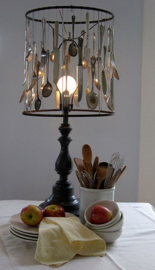 DIY Silverware Lamp. Read more about it
