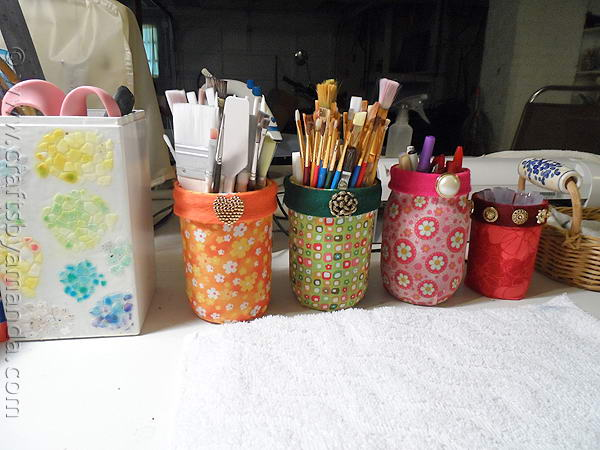 Fabricd Mason Jars Organizer.