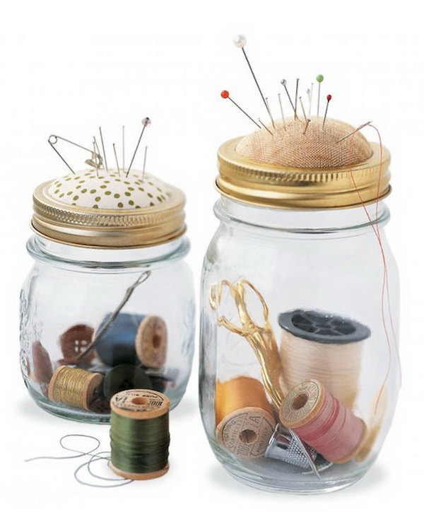 Mason Jar Mini Sewing Kit.