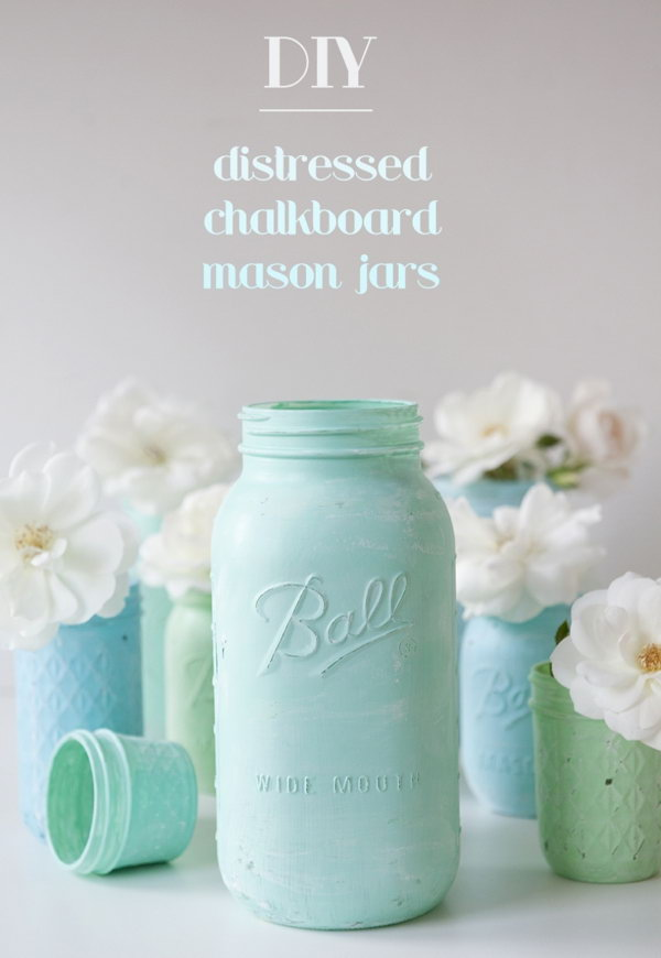 Distressed Chalkboard Mason Jars.