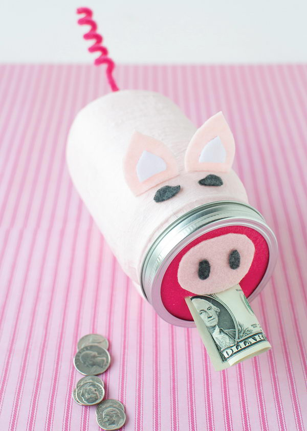 Mason Jar Craft of Piggy Bank.